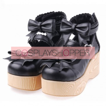 "Black 2.7"" Heel High Lovely Patent Leather Round Toe Bow Decoration Platform Women Lolita Shoes"