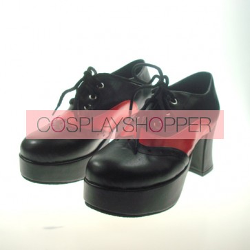 "Black 2.9"" Heel High Beautiful Synthetic Leather Point Toe Cross Straps Platform Girls Lolita Shoes"