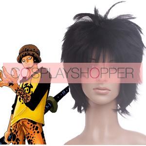 Black 32cm One Piece Trafalgar Law Nylon Cosplay Wig