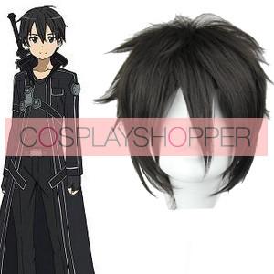 Black 32cm Sword Art Online Kirito Cosplay Wig