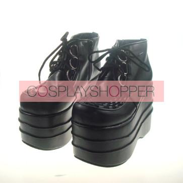 "Black 4.7"" Heel High Adorable Suede Round Toe Cross Straps Platform Women Lolita Shoes"