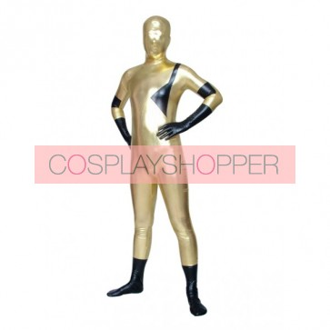 Black And Golden Full Body Shiny Metallic Unisex Zentai Suit