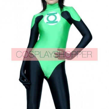 Black And Green Lycra Spandex Superhero Zentai Suit