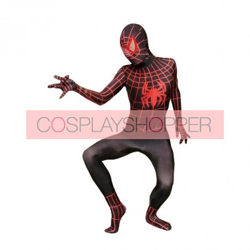 Black And Red Lycra Spandex Spiderman Zentai Suit