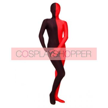 Black And Red Lycra Spandex Unisex Zentai Suit