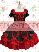 Short Sleeves Black & Dark Red Cotton Gothic Lolita Dress