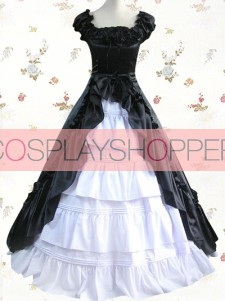Black & White Cuff Sleeves Ruffled Front Splitting Multi-layer Cotton Satin Classic Lolita Dress