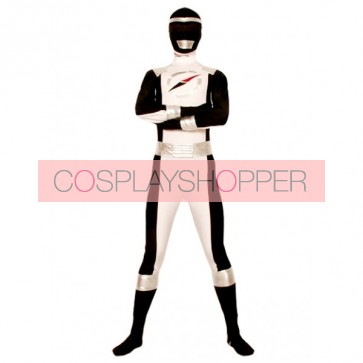 Black And White Lycra Shiny Metallic Superhero Zentai Suit