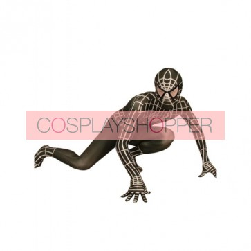 Black And White Lycra Spandex Spiderman Zentai Suit