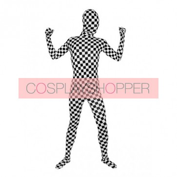 Black And White Lycra Spandex Zentai Suit