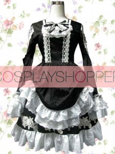 Black & White Satin Victorian Style Gothic Lolita Dress