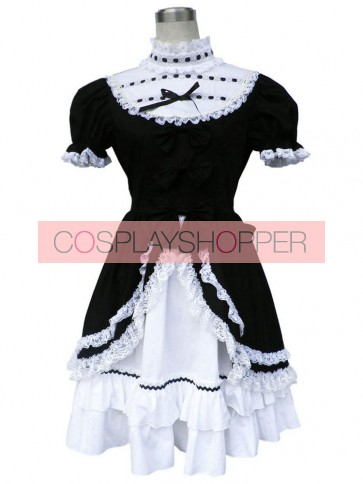 Black And White Short Sleeves Bow Cotton Gothic Lolita Dress