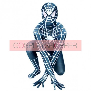 Black And White Spiderman Lycra Spandex Zentai Suit