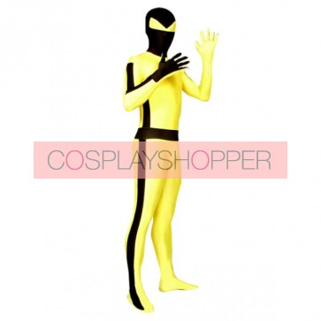 Black And Yellow Full Body Lycra Spandex Unisex Zentai Suit