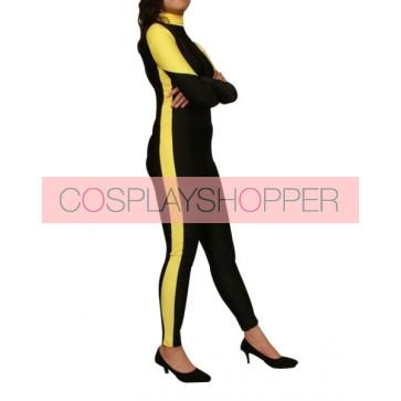 Black And Yellow Lycra Spandex Unisex Zentai Suit