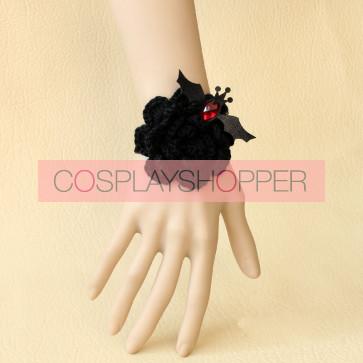 Black Angel Floral Girls Lolita Wrist Strap