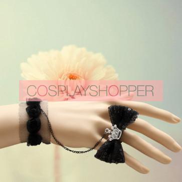 Black Bow Crown Girls Lolita Bracelet And Ring Set