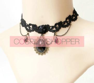 Black Classic Floral Lace Lolita Necklace