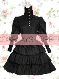 Black Long Sleeves Punk Style Cotton Gothic Lolita Dress