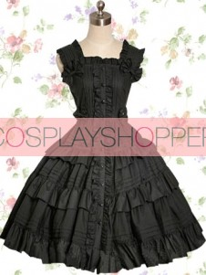 Black Victorians Style Cotton Gothic Lolita Dress