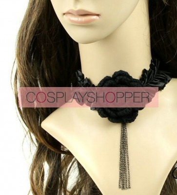 Black Cute Floral Lolita Necklace