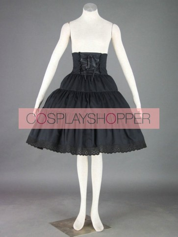 Black Cute Lace Ruffles Cotton Lolita Skirt