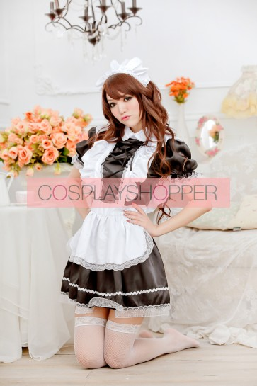 Black Cute Short Sleeves Bow Strap French Maid Uniform