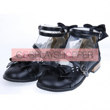 Black Flat Heel Cute Synthetic Leather Point Toe Bowknot Platform Girls Lolita Shoes