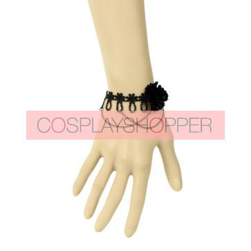 Black Floral Metal Chain Lady Lolita Wrist Strap