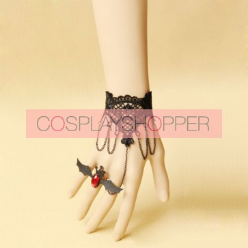 Black Gothic Witch Lace Lolita Bracelet And Ring Set