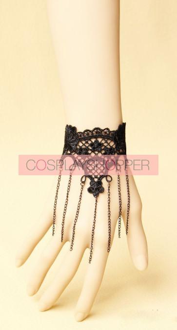 Black Lace Metal Chain Lolita Wrist Strap