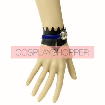 Black Leather Button Fashin Girls Lolita Wrist Strap
