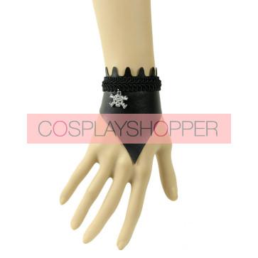 Black Leather Skeleton Lady Lolita Wrist Strap