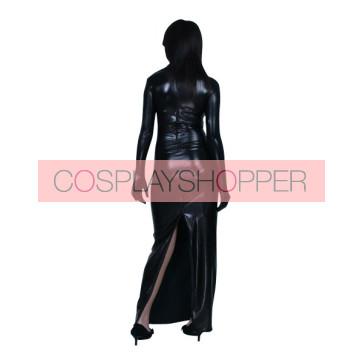 Black Long Sleeves Back Open PVC Zentai Suit