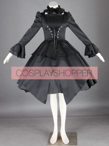 Gorgeous Black Long Sleeves Cotton Gothic Lolita Dress