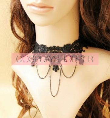 Black Lovely Lace Blend Alloy Lolita Necklace