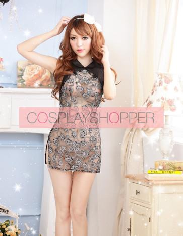 Black Modern Lace Floral Print Cheongsam Chinese Dress