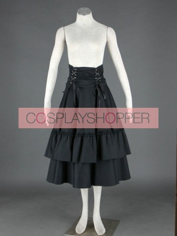 Black Polka Ruffled Lace Cotton Lolita Skirt