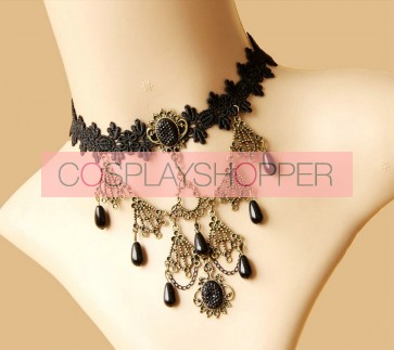 Black Retro Lace Metal Chain Lolita Necklace