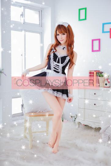 Black Sexy Strap Lace French Maid Uniform