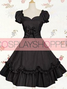 Black Bow Cotton Classic Lolita Dress With Short Sleeves
