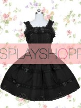 Black Sleeveless Elizabethans Style Bandage Cotton Gothic Lolita Dress