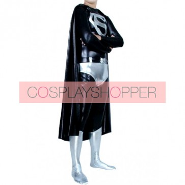 Black Superman PVC Superhero Zentai Suit