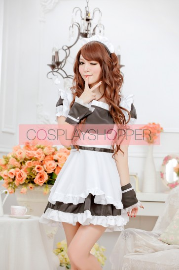 Black Sweet Short Sleeves Strapless French Maid Uniform
