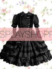 Black Turndown Collar Ruffle Cotton Victorian Style Gothic Lolita Dress