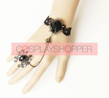 Black Western Style Floral Lady Lolita Bracelet And Ring Set