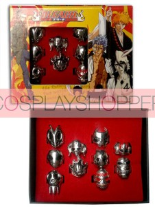 Bleach Alloy 10 Piece Anime Ring Set