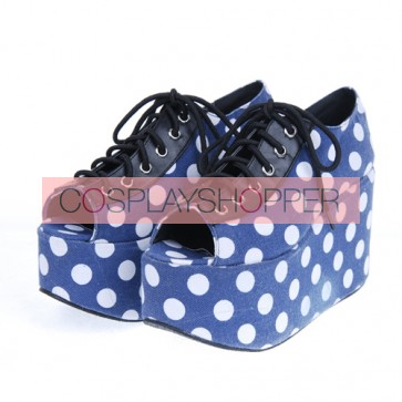 "Blue 3.9"" Heel High Lovely Patent Leather Point Toe Cross Straps Platform Women Lolita Shoes"