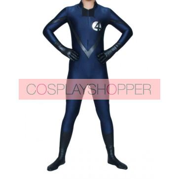 Blue And Black Lycra Spandex Unisex Superhero Zentai Suit