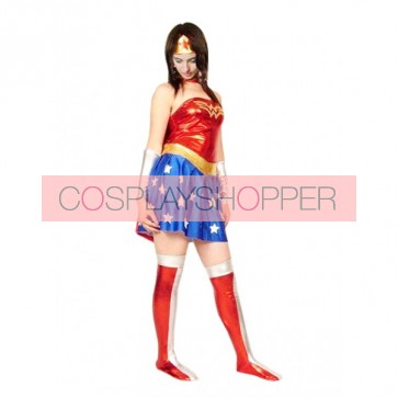 Blue And Red Shiny Metallic Mini-Skirt Superhero Zentai Suit